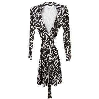 Diane Von Furstenberg Zebra Justin black & white wrap silk dress