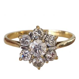 Bespoke 18ct Gold 0.85ct Diamond Daisy Cluster Ring