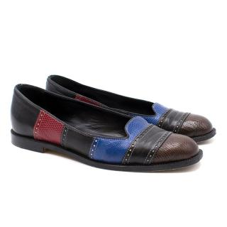 Manolo Blahnik Multi-Coloured Leather Loafers
