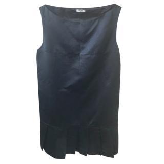 Miu Miu navy blue silk pleat mini dress