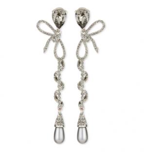 Oscar De La Renta Crystal & Pearl Embellished Spiral Drop Earrings