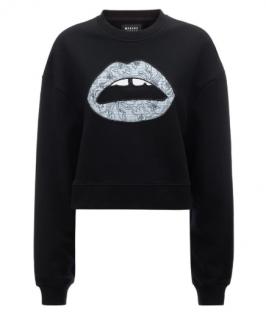 Markus Lupfer Orly Pintuck Stripe Flower Lip Sweatshirt