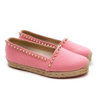 Christian Louboutin Pink Studded Espadrilles
