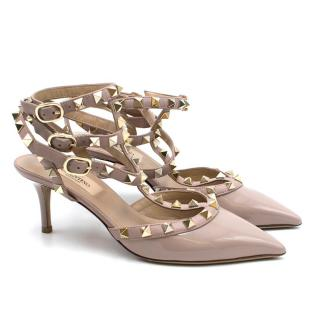 Valentino Rockstud Kitten Heel Nude Sandals