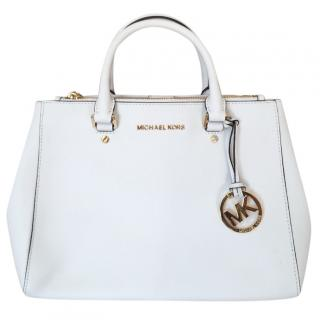 Michael Kors White Safiano Leather Tote Bag