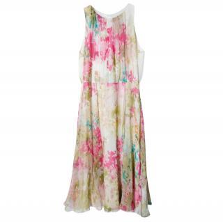 Max Mara Floral Silk Georgette Flared Skirt Dress