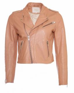 Maje Cropped Leather Biker Jacket