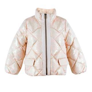 Miu Miu Pink Cropped Metallic Floral Jacket