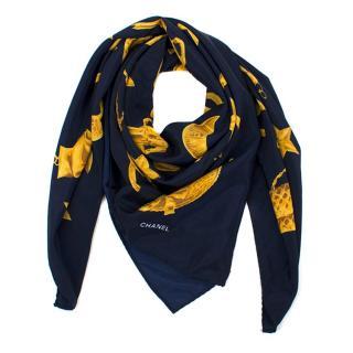 Chanel Navy & Gold Silk Scarf