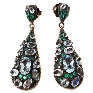 Matthew Campbell Laurenza Agate & Topaz Earrings