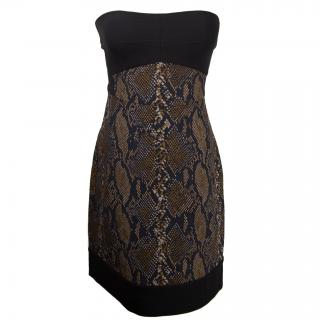 Diane von Furstenberg snake print and strapless bodice dress
