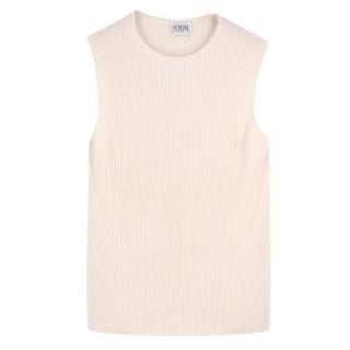 N.Peal Cream Ribbed Cashmere Shell Top