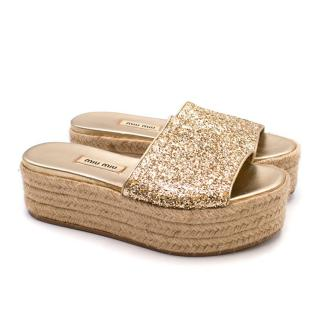 Miu Miu Metallic Gold Glitter Espadrille Platform Slides