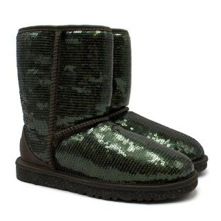 UGG Emerald Green Sequin Short Boots