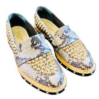 Grey Mer Python Skin Studded Loafers