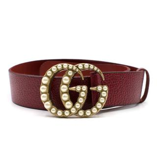 Gucci Current Season Red Leather Pearl 'GG' Belt