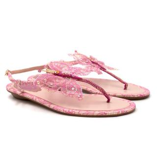 Rene Caovilla Pink Lace Butterfly Sandals