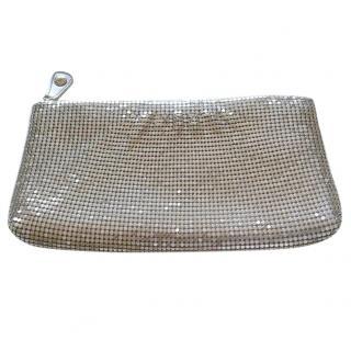 Jimmy Choo Silver Chain Mail Zip Top Clutch Bag