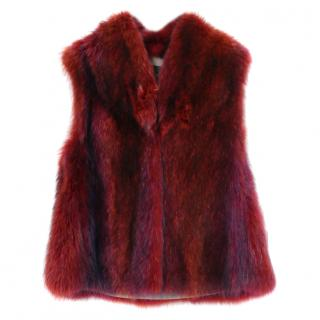 Hockley Ophian Red Raccoon Fur Gilet