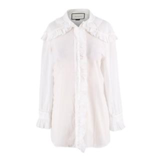 Gucci White Cotton Frilled White Blouse