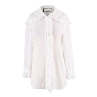Gucci White Cotton Frilled White Blouse