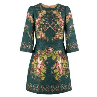 Dolce & Gabbana Green Floral and Key Print Brocade Dress