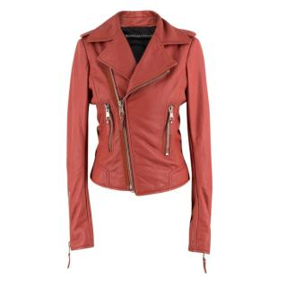 Balenciaga Red Leather Jacket