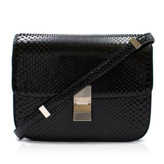 Celine Black Snakeskin Classic Medium Box Bag