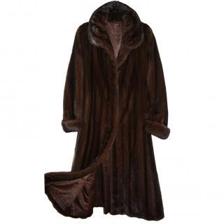 Saga Furs Sable Brown Real Mink Fur Coat