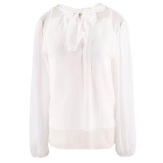 Dolce & Gabbana Girl's White Silk Pussybow Blouse