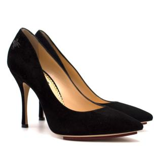 Charlotte Olympia Black Suede Pumps