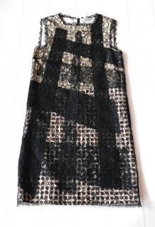 Bottega Veneta Lace Overlay Polka Dot & Crystal Dress New