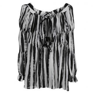 Vivienne Westwood Anglomania Striped Silk Peasant Top