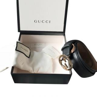 Gucci black leather belt with interlocking G buckle