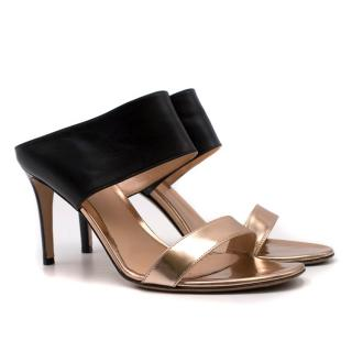 Gianvito Rossi Metallic Two-tone Diane Mules