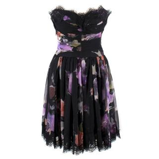 Dolce & Gabbana Black Strapless Floral Dress