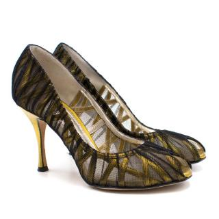 Dolce & Gabbana Gold with Black Mesh Peep Toe Pumps