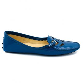 Tod's blue patent Loafers