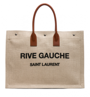 Saint Laurent Noe Rive Gauche Logo Linen Tote - Current Season