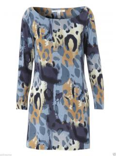 Diane von Furstenberg Tacita silk dress in Paper Cheetah Blue