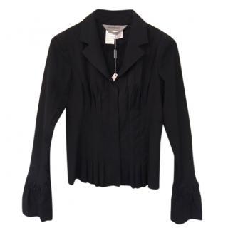 Sportmax Black Zip Up Pleated Jacket