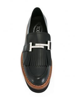 Tod's fringed platform leather loafer