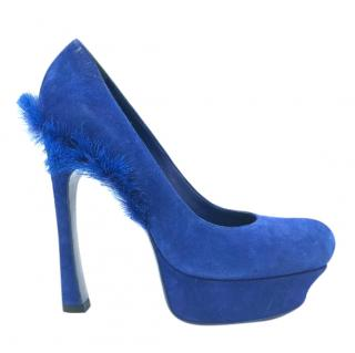 Yves Saint Laurent Palais Mohawk Blue Suede Pumps