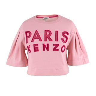 Kenzo 'Paris' Sheer Logo Cropped Top