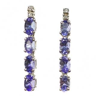 Bespoke 9ct White Gold Tanzanite & Diamond Earrings