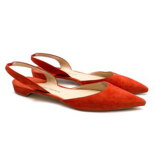 Paul Andrew Red Rhea Ballerina Pumps