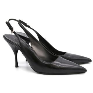 Prada Black Leather Pointed Slingback Heeled Pumps