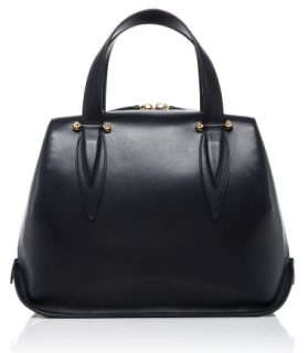 Delpozo Classic Black Leather Top handle Bag