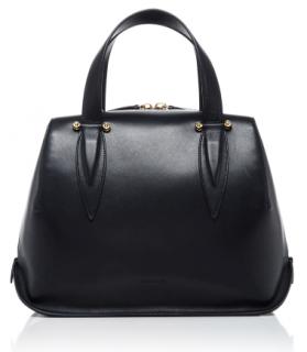Delpozo Classic Black Leather Top handle Bag