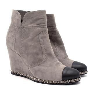 Chanel Grey Suede Wedge Ankle Boots